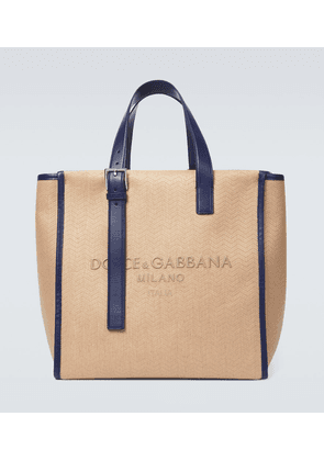 Herringbone canvas tote bag