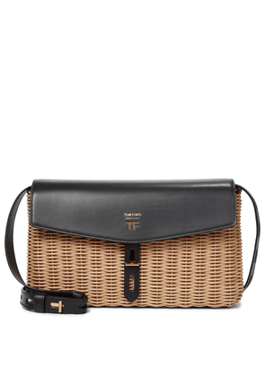 T Twist wicker and leather shoulder bag