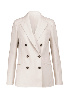 Double-breasted cotton-blend jersey blazer