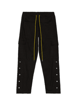 Rhude Long Snap Cargo Pant in Black. Size M.