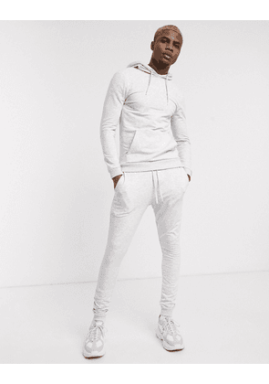 ASOS DESIGN muscle tracksuit with hoodie in white