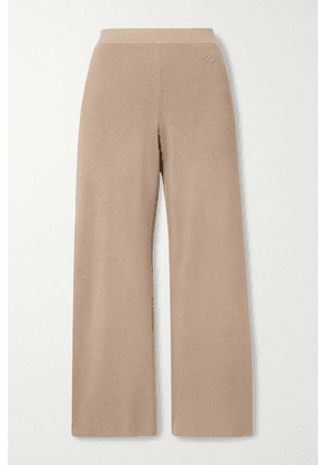 By Malene Birger - Belis Cropped Ribbed-knit Straight-leg Pants - Light brown