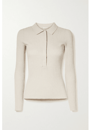 By Malene Birger - Flalia Ribbed-knit Polo Shirt - Beige