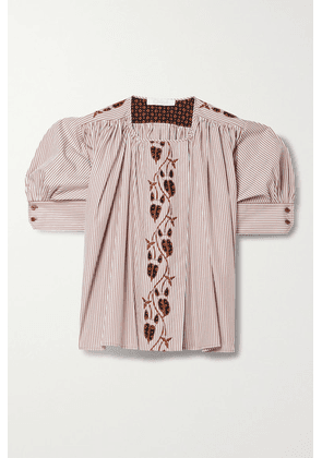 Chloé - Embroidered Striped Cotton-poplin And Printed Crepe Blouse - White