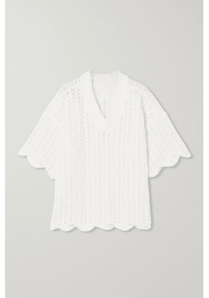 See By Chloé - Scalloped Crochet-knit Cotton Top - White