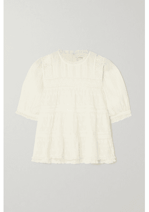 DÔEN - Adnet Embroidered Tiered Organic Cotton-voile Blouse - Ivory