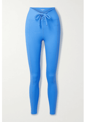 Year of Ours - Football Lace-up Ribbed Stretch-jersey Leggings - Azure