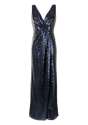 Marchesa Notte Bridesmaids sequin-embellished V-neck bridesmaids dress - Blue
