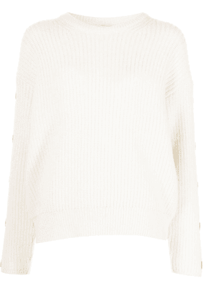 Closed ribbed-knit button-sleeve jumper - White