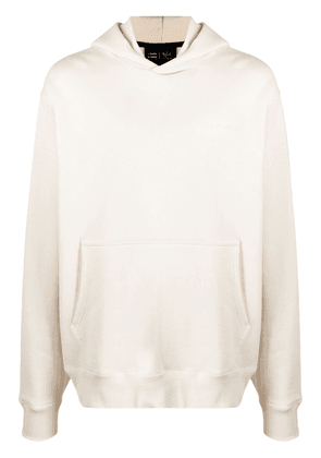 adidas by Pharrell Williams embroidered-logo cotton hoodie - Neutrals