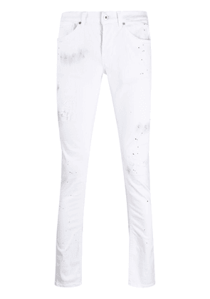 Dondup painterly-print slim-fit trousers - White