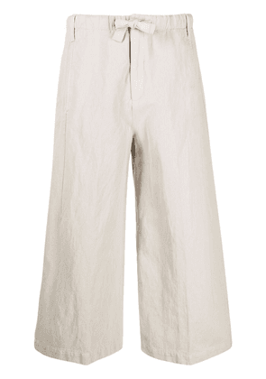 Closed cropped wide-leg trousers - Neutrals