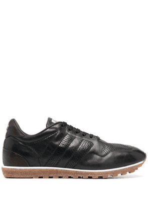 Alberto Fasciani panelled low-top leather sneakers - Black