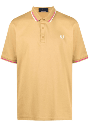 FRED PERRY embroidered-logo cotton polo shirt - Yellow