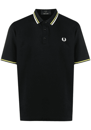 FRED PERRY embroidered-logo cotton polo shirt - Black
