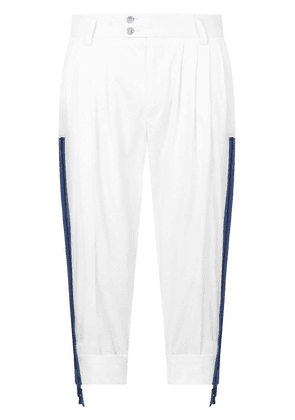 Dolce & Gabbana cropped gathered-detail trousers - White