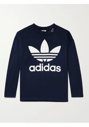 ADIDAS CONSORTIUM - Human Made Printed Loopback Cotton-Jersey Mock-Neck Sweatshirt - Men - Blue - S
