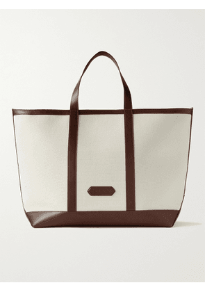 TOM FORD - Leather-Trimmed Canvas Tote Bag - Men - Neutrals