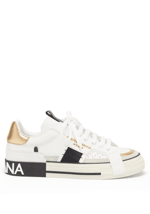 Dolce & Gabbana - Logo-embossed Leather Trainers - Mens - White Black
