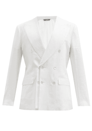 Dolce & Gabbana - Double-breasted Layered Linen Blazer - Mens - White