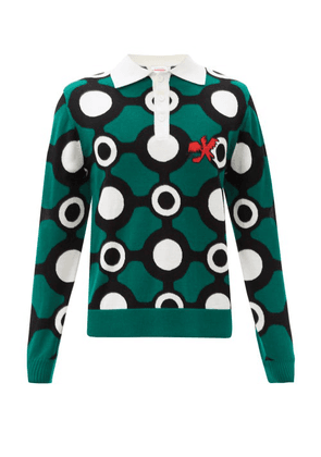 Charles Jeffrey Loverboy - Logo-embroidered Merino-wool Jacquard Sweater - Mens - Green