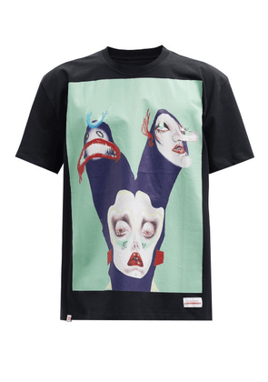 Charles Jeffrey Loverboy - Illustrated Face-print Cotton-jersey T-shirt - Mens - Black Green