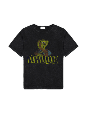 Rhude Cobra Graphic Tee in Black. Size XL.