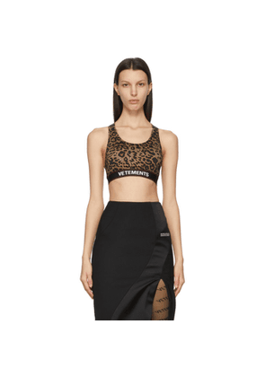 VETEMENTS Brown and Black Leopard Logo Sports Bra