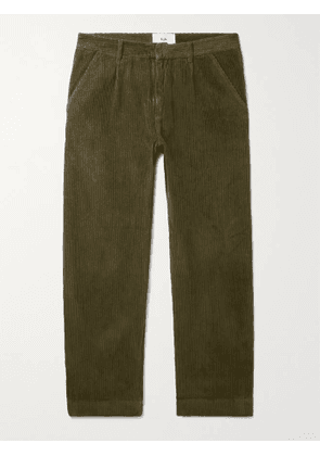 FOLK - Signal Tapered Cropped Pleated Cotton-Corduroy Trousers - Men - Green - 4