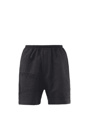 By Walid - Blaze Upcycled Cotton Patchwork Shorts - Mens - Black