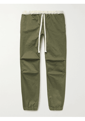BEAMS PLUS - Gym Tapered Stretch-Cotton Twill Drawstring Trousers - Men - Green - S
