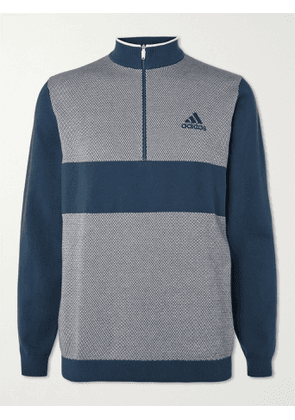 ADIDAS GOLF - Colour-Block Stretch Cotton-Blend Half-Zip Golf Sweater - Men - Blue - M