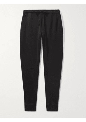 TOM FORD - Tapered Garment-Dyed Fleece-Back Cotton-Jersey Sweatpants - Men - Black - M