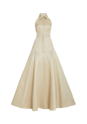 Brandon Maxwell - Women's Collared Wool Silk Gown - White - Moda Operandi