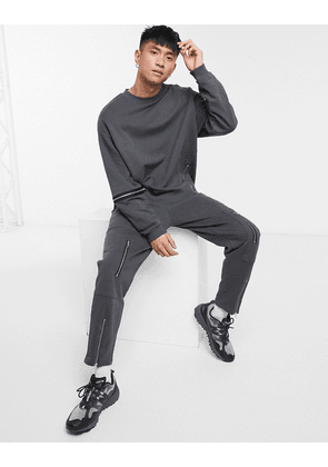 ASOS DESIGN co-ord tapered joggers with zip details in washed black-Grey