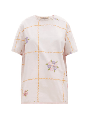 By Walid - Tatum Checked Floral-embroidered Linen T-shirt - Womens - Light Pink