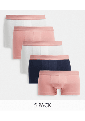 ASOS DESIGN 5 pack trunks with pastel pink waistband-Multi