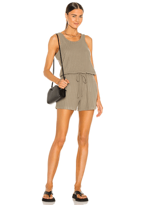 Chaser Poor Boy Rib Double Scoop Tank Romper in Army. Size XS, M, L.