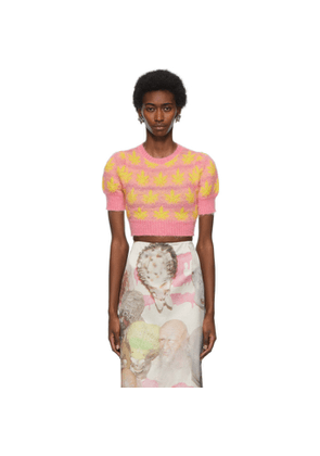 Ashley Williams Pink and Yellow Leaves Cropped Sweater