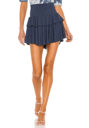 Chaser Cozy Rib Flouncy Tiered Mini Skirt in Blue. Size XS, M, L.