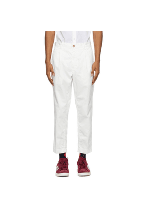 BEAMS PLUS White One-Pleat Chino Trousers