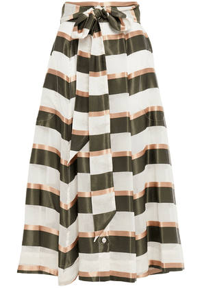 Lisa Marie Fernandez Belted Striped Voile And Satin Midi Skirt Woman Off-white Size 1