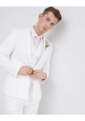 ASOS DESIGN Wedding skinny suit jacket in off white cross hatch with printed lining