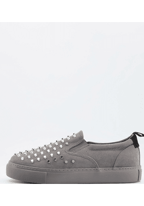ASOS DESIGN Wide Fit slip on plimsolls in grey with metal studs
