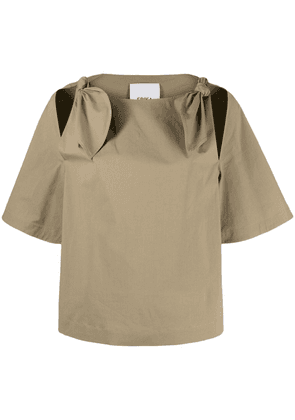 Erika Cavallini knotted cut-out blouse - Green