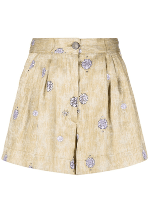 Forte Forte floral-print high-waisted shorts - Neutrals
