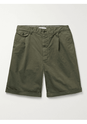 ALEX MILL - Pleated Stretch BCI Cotton-Twill Chino Shorts - Men - Green - UK/US 30