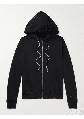RICK OWENS - Champion Jason's Logo-Embroidered Loopback Cotton-Jersey Zip-Up Hoodie - Men - Black - M
