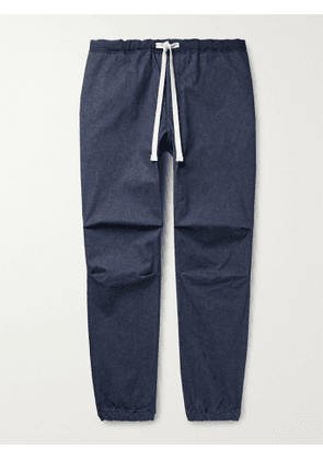 BEAMS PLUS - Gym Tapered Stretch-Cotton Twill Drawstring Trousers - Men - Blue - S