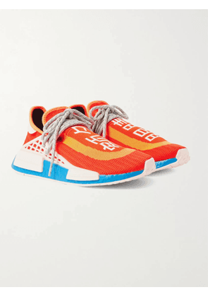 ADIDAS CONSORTIUM - Pharrell Williams NMD Hu Leather and Rubber-Trimmed Primeknit Slip-On Sneakers - Men - Orange - 7.5